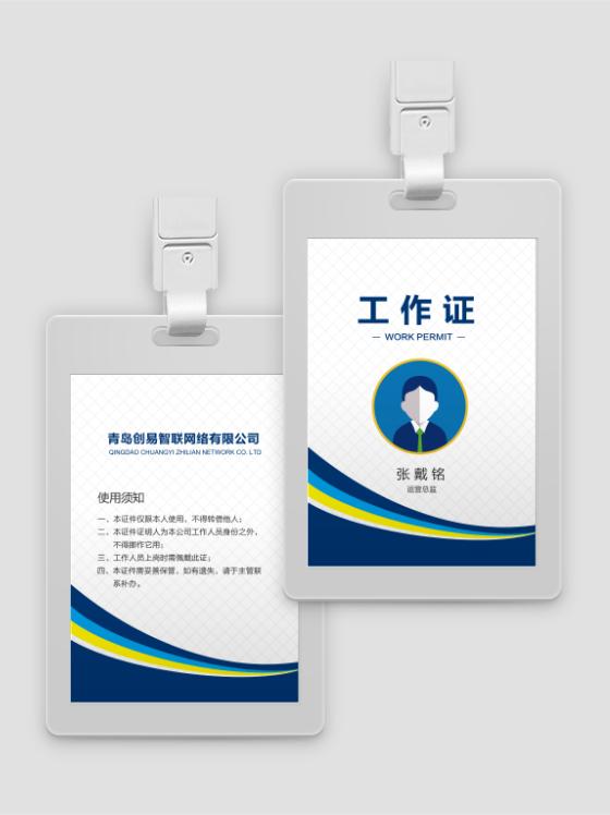 天津白色网格蓝底商务免费工作证